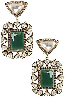 Gold Plated Kundan and Emerald Stone Earrings by Nepra by Neha Goel