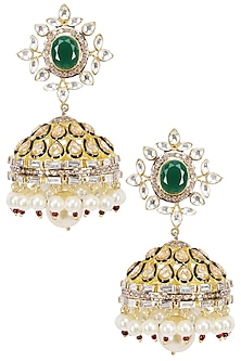Gold Plated Emerald Stone Jhumki Drop Earrings by Nepra by Neha Goel