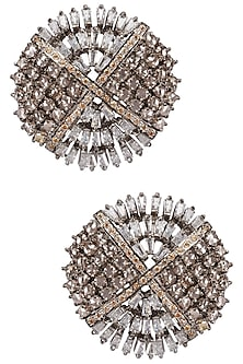 Antique Silver Finish Baguettes and Champagne Stones Studs by Nepra by Neha Goel