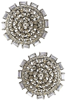 Antique Silver Finish Baguettes and Champagne Stones Round Studs by Nepra by Neha Goel