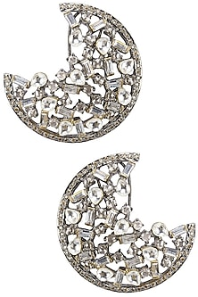 Antique Silver Finish Baguettes and Champagne Stones Half Hoops by Nepra by Neha Goel