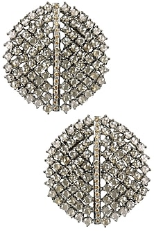 Antique Silver Finish Champagne Stones Studs by Nepra by Neha Goel