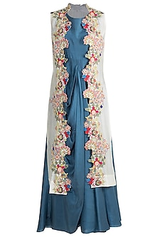 Sea Blue Draped Dress With Off White Embroidered Jacket by Neha Vaswani