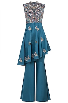 Sea green embroidered peplum jacket and pants by NEHA VASWANI