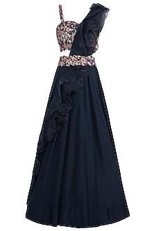Dark navy blue embroidered lehenga set