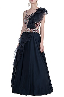 Dark navy blue embroidered lehenga set by NEHA VASWANI