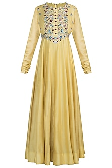 Light mustard green embroidered anarkali set