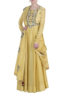 Light mustard green embroidered anarkali set by NEHA VASWANI