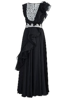 Black embroidered anarkali gown set by NEHA VASWANI