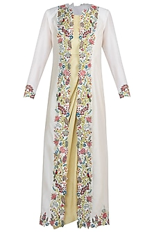 Light mustard green embroidered drape dress with jacket