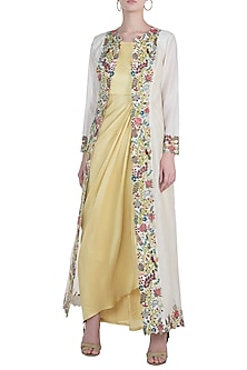 Light mustard green embroidered drape dress with jacket by NEHA VASWANI