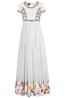 Off white embroidered anarkali set by NEHA VASWANI