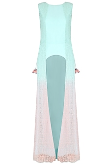 Ice Blue And Peach Crochet Panelled High Low Tunic by Agami by Neha Agarwal