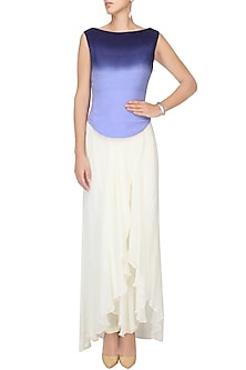 Blue Ombre Shaded Boat Neck Pleated Crop Top by Agami by Neha Agarwal