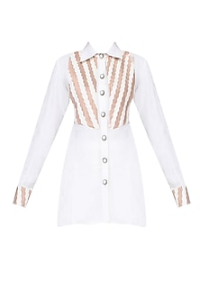White And Rose Pink Color Blocked Cross Pleated Textured Shirt by Agami by Neha Agarwal