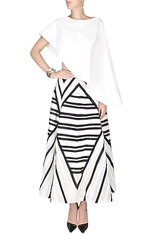 White Crop Top With Attached Short Cape by Agami by Neha Agarwal