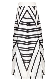 White And Black Striped Ankle Length Textured Skirt