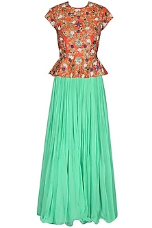 Coral Jaal Embroidered Peplum Top With Sea Green Pleated Skirt