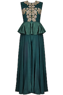 Teal Floral Motifs Embroidered Peplum Jumpsuit