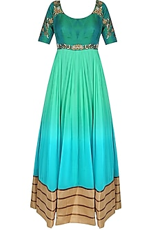 Mint Green Ombre Shaded Floor Length Anarkali Suit With Churidaar Pants