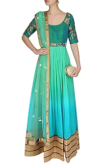 Mint Green Ombre Shaded Floor Length Anarkali Suit With Churidaar Pants by 1600 AD NAISHA NAGPAL