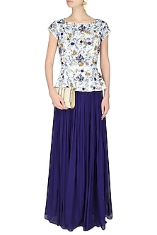 White Embroidered Peplum Top With Ink Blue Gathered Skirt by 1600 AD NAISHA NAGPAL