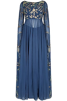 Blue Cape Sleeves Anarkali Suit With Palazzo Pants by 1600 AD NAISHA NAGPAL