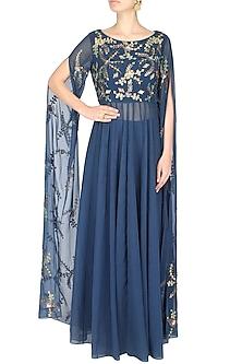 Blue Cape Sleeves Anarkali Suit With Palazzo Pants by 1600 AD NAISHA NAGPAL