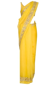 Yellow embroidered saree set by Ranian