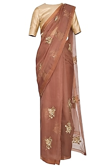 Mud brown embroidered saree set by Ranian
