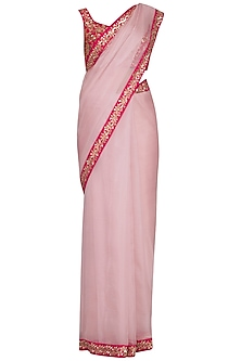 Powder pink embroidered saree set