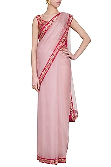 Powder pink embroidered saree set by Ranian