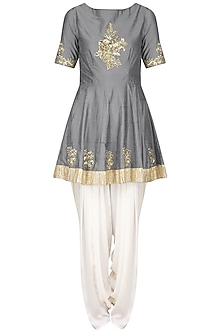 Grey Embroidered Peplum Kurta with Ivory Dhoti Pants Set