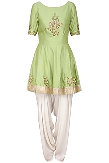 Olive Green Embroidered Peplum Kurta with Ivory Dhoti Pants Set