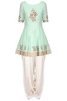 Mint Green Embroidered Peplum Kurta with Ivory Dhoti Pants Set