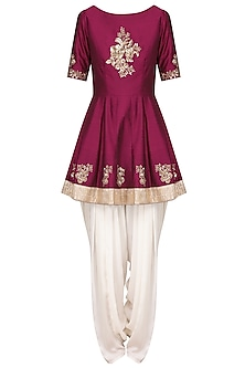 Wine Embroidered Peplum Kurta with Ivory Dhoti Pants Set