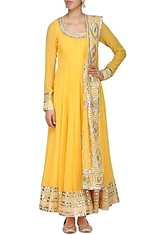 Yellow Embroidered Anarkali Set by Ranian