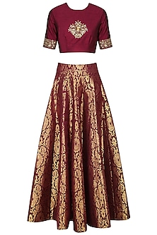 Maroon Embroidered Crop Top with Brocade Skirt