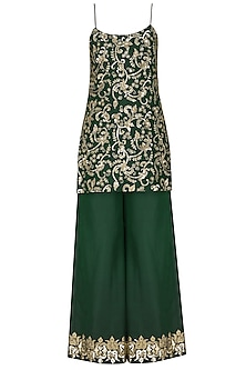 Emerald Green Embroidered Kurta with Palazzo Pants Set by Ranian