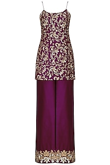 Wine Embroidered Kurta with Palazzo Pants Set by Ranian
