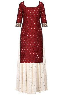 Wine Embroidered Kurta with Ivory Skirt Set by Ranian