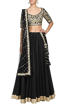 Black Embroidered Lehenga Set by Ranian