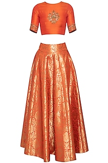 Orange embroidered crop top with lehenga skirt