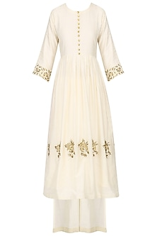 Ivory Embroidered Tunic with Palazzo Pants Set by Ranian