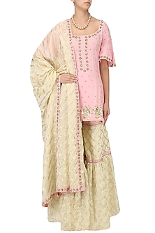 Blush Pink Embroidered Short Kurta with Gharara Set by Ranian