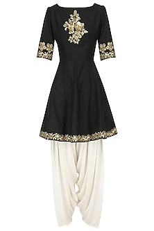 Black Embroidered Peplum Kurta with Dhoti Salwar Set by Ranian