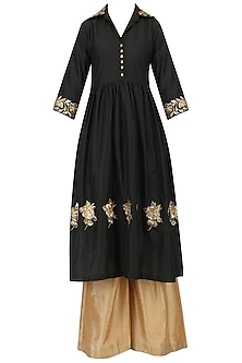Black Embroidered Tunic with Palazzo Pants Set by Ranian