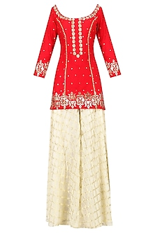Crimson Red Embroidered Short Kurta with Gharara Set by Ranian