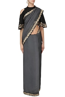 Iron Grey and Black Embroidered Saree with Blouse  by Ranian