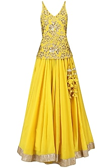 Sunflower Yellow Embroidered Top with Lehenga Set